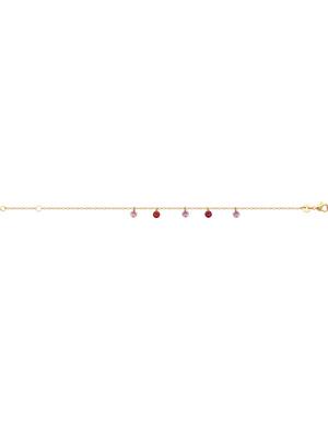 Bracelet perles multicolores plaqué or