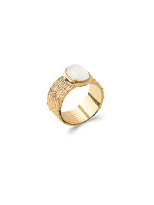 Bague pierre de lune plaqué or