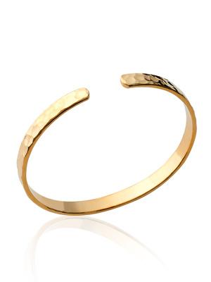 Bracelet jonc effet martelé plaqué or